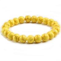 Браслет браслет модных желтых натуральных каменных бусин шарм браслеты браслеты для женщин круглые бисеры пряди мужчины ювелирные изделия Pulseira Feminina