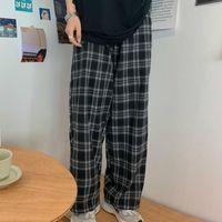 Women's Pants & Capris Black Women Plaid Casual Oversize Loose Wide Leg Trouser Retro Teens Harajuku Plus Size Hip-hop All-match Streetwear