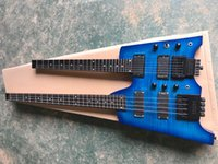 Headless 6+4 strings Double Neck Blue body Electric Guitar,Rosewood Fretboard,Tremolo System,Provide customized services