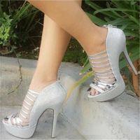 Handmade Womens Elegant High Heel Sandals Stripeds Sexy Platform Glitter Nubuckle Open-toe Evening Party Prom Fashion Summer Shoes D566