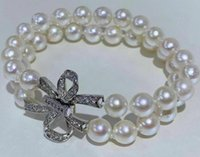 8-9mm Two Strands South Sea Round White Pearl Bracelet 7.5-8inch Women's Gift