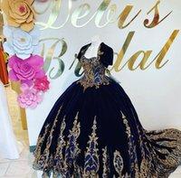 2021 Gold de luxe en dentelle à paillettes Velvet Charro Quinceanera Robes avec veste Boule robe marine 16 robe vestidos 15 anos