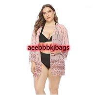 Cubiertas mujeres más tamaño traje de baño bikini blusa protección sol manga larga manga bohemia impresión playa smock verano moda desgaste D301