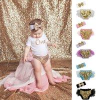 Niños Tutu Shorts con lentejuelas conjuntos de bandas para el cabello Pantalones para niños pequeños Ropa con volantes Chico niños Casual Ropa de verano Baby Bloomers Ropa G65MW5W