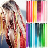 Synthetic Wigs S-noilite 1pack 20inch Long Straight Color Highlight Hair Clip In One Piece Fake Strips