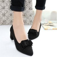 Dress Shoes Women Shose Women's Bowknot Suede Thick High Heels Casual Pointed Toe Fashion Sexy Style For Ladies
