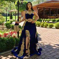 LORIE caftn marroqu azul real vestido de noche sirena 2020 encaje Dubai apliques Formal Prom celebridad vestidos con eliminar falda