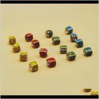 السيراميك، الطين، فضفاض jewelryxinyao 50 قطعة / الوحدة الأزمول شكل مربع السيراميك قطرها 8 10 ملليمتر اليدوية الخزف سحر الخرز ل diy مجوهرات ماجستير