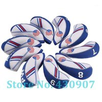 10pcs / set USA-Flagge Neopren-Golfclub-Eisen-Kopf-Abdeckung Set 4-9, AW, SW, PW, lw Complete of Clubs1