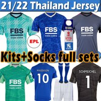 21/22 Leicester Futebol Jerseys 2021 Cidade Vardy Maddison Tielemans Ndidi Camiseta de Fútbol Homens Kits Kits + Meias Full Sets Maillot de Football Shirt Thai