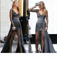 Gossip Girl Blake Lively Fashion Zuhair Murad Gray Long Sleeves Prom Dresses Full Lace Beaded Evening Gowns Sexy Illusion Celebrity Dress