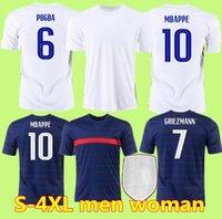S-4XL 여성 2021 프랑스 벤즈마 MBappe Griezmann Pogba Jerseys 21 22 축구 유니폼 Kante 축구 셔츠 Thauvin Varane Maillot de Foot Hommes