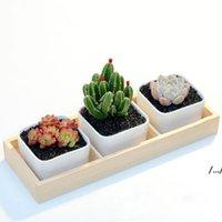 3 Grids Flower Pots Box Tray Wooden Succulent Plant Fleshy Flowerpot Containers Home Decor DWD6905