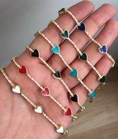Cute lovely enamel heart charm cz tennis bracelet bangle for lover women fashion jewelry 15+4cm extend chain