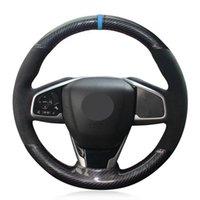 DIY Araba Direksiyon Kapağı Kaymaz Siyah Karbon Fiber Süet Honda Civic Civic 10 2016-2019 CRV CR-V 2017-2019 Netlik