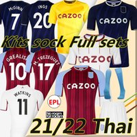 21/22 Aston Futebol Jerseys Villa Grealish Buendía Traore Barkley 2021 2022 Watkins Wesley El Ghazi M.Trezeguet McGinn Camisa de futebol Homens Kits Kits Kits Conjuntos Completos