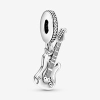 100% 925 Sterling Silver Electric Guitar Dangle Charm Fit Original European Charms Bracelet Fashion Wedding Engagement Jewelry Accessories
