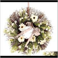 Праздничная партия поставляет сад Drop Доставка 2021 Космос Солнцев венок Цветок Искусственная гирлянда для дверных декоров, свадьбы, вечеринки и дома декабря