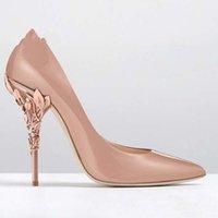 Frauen Solide Eden Heel Pumpe Super Sexy Mädchen Hochzeitsschuhe Verziertes Filigranes Blatt Spitz Zehen Haute Couture Schuhe