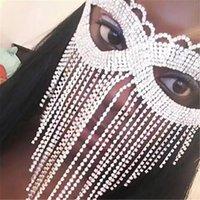 Exquisite sexy Rhinestone tassel eye women belly luxury shining crystal mask fashion dance face jewelry