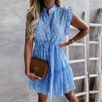 Summer Flower Print Shirt Dress Women Ruffles Sleeveless Boho Blue Sundress Female A Line Short Office Vestidos 2021 New