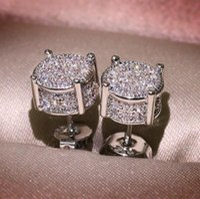 Unisex Men Women Stud Earrings Gold Silver Plated Sparkling Luxury Shining Crystal CZ Simulated Diamond Earring Jewelry