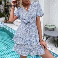 Simple Azul Impresso Buff Manga Knotted V-Neck Senhoras Vestido Moda Verão Mulheres A linha Sundress 2021 Casual Outfits vestidos vestidos
