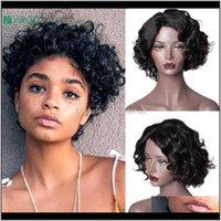 Spitze Produkte Rückgabe 2021 Virgo Brasilianische lose tiefe Welle Remy Kurzes menschliches Haar für Frauen Hingefertigte Perücken Natürliche Schwarz Farbe Vim4y