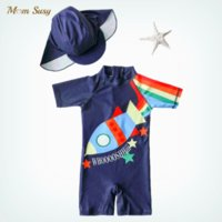 One-Pieces Summer Baby Boys Swim Suit One Piece With Cap Infant Toddler Child Swimwear Cartoon Zipper Bathing Kid Swimming Clothing