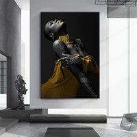 Black Woman Art Pictures Print Canvas Posters Sexy African Women Wall Art Scandinavian Oil Painting for Living Room Decoration