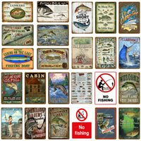 Arredamento per la barca da pesca No Fishing Vintage Stagno Signs Retro Poster Decorazione della parete per la lago Cabina Cabina Pesce Regalo Regalo Lunkrs Metal Piastra