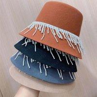 autumn winter women wool cap fashion Pearl tassel bucket cap women elegant fisherman hat