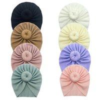 Kapaklar Şapka Sevimli Düğüm Bebek Şapka Sonbahar Kış Çocuklar Kız Bonnet Katı Renk Türban Yumuşak Elastik Bebek Yürüyor Beanies Headwraps