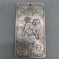 Vieux chinois Tibétain Argent Relief Zodiac Dog Card Card Ambule Pendentif Feng Shui Card Card Pendentif