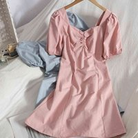 Folded square neck puff sleeve temperament mini vintage dress pure color bag hip short dress summer A-line Dress female vestido 210515