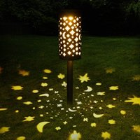 Solar Ground Projection Light Star and Moon Iron Lawn Lamp Outdoor Garden Decoration Lamp