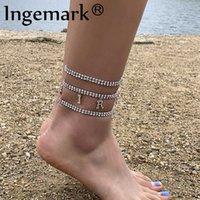 BOHO Lüks Buzlu Out Zincir Rhinestone Ayak Bileği Bilezik Tobillera Moda Parlak Kristal Mektup Kolye Halhal Kadınlar Plaj Takı Q0605
