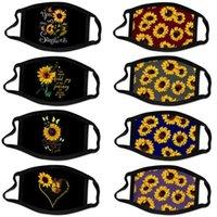 Amerikaanse voorraad Fashion Face Party Masker Designer Sunflower 3D Digital Printing Katoen Mond Maskers Stofdicht Anti-Haze Wasbaar en Ademend