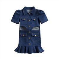 Детская летняя одежда для одежды ребенк девушка платье девушки винтажные джинсовые передвижные платья, отворот с коротким рукавом вырезать кнопки рюшами мини платья