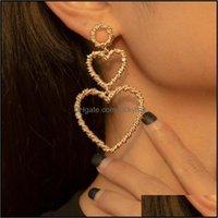Dangle & Chandelier Jewelrylacteo Hip Hop Mtilayer Love Heart Twist Chain Earrings For Women Trendy Fashion Geometric Statement Jewelry Earr