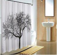 Cortinas de ducha de diseño de árbol negro Decoración de baño de baño Cortina de ducha de poliéster cortina a prueba de agua Cortina de baño con ganchos 180 * 180 cm 616 R2
