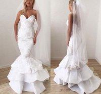 Sweetheart Mermaid Wedding Gowns 2021 Arabic Lace Appliques Tieres Skirt Vintage Bridal Dress Sexy Backless Sweep Train Vestidos De Novia Plus Size Marriage AL9078
