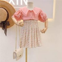 Children's Wear 2021 Summer Girl Sweet Organza Ruffled Cuff Shirt Floral Pleated Skirt3Y-7Y Toddler Outfits Girls Sets Clothing