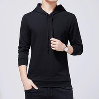 Men's T-Shirts T2004 Spring Fall Men Hooded Korean Style Trendy Slim Solid Color Simple All-Match Classic Casual Male Pullover Fitness