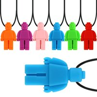 Fidget Toys Robot Sensory Chew Necklace Brick Chewy Kids Silicone Biting Pencil Topper Teether Toy, Siliconeteether for children with autism