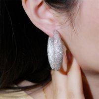 Cywzirconi micro pavimenta cubic zirconia rotonda grande dichiarazione orecchini a cerchio argento colore donne di lusso monili da sposa nuziale cz809 1743 q2
