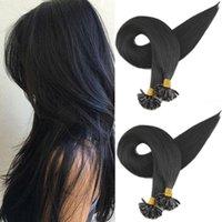 U dica prego extensões de cabelo humano sedoso reto brasileiro remy cabelo 1g / cortes cor natural