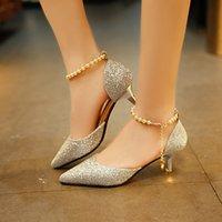 Dress Shoes Sapatos de salto alto sensual pérolas e ponta fina, calçado respirável feminino da moda, vazado com sandálias TXJQ
