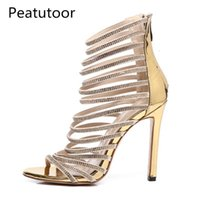Sandalet Peatoor Yaz Bling Altın Kristal Ince Strappy Gladyatör Sandal Ayakkabı Stiletto Topuk Düğün Pompaları Rhinestone EWR9