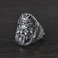 Klusterringar S925 Sterling Silver Vintage Thai Ring för män Guan Gong Dragon Skala Överdrivna Punk Amulet Smycken